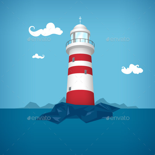 GraphicRiver Lighthouse in the Sea 10126339