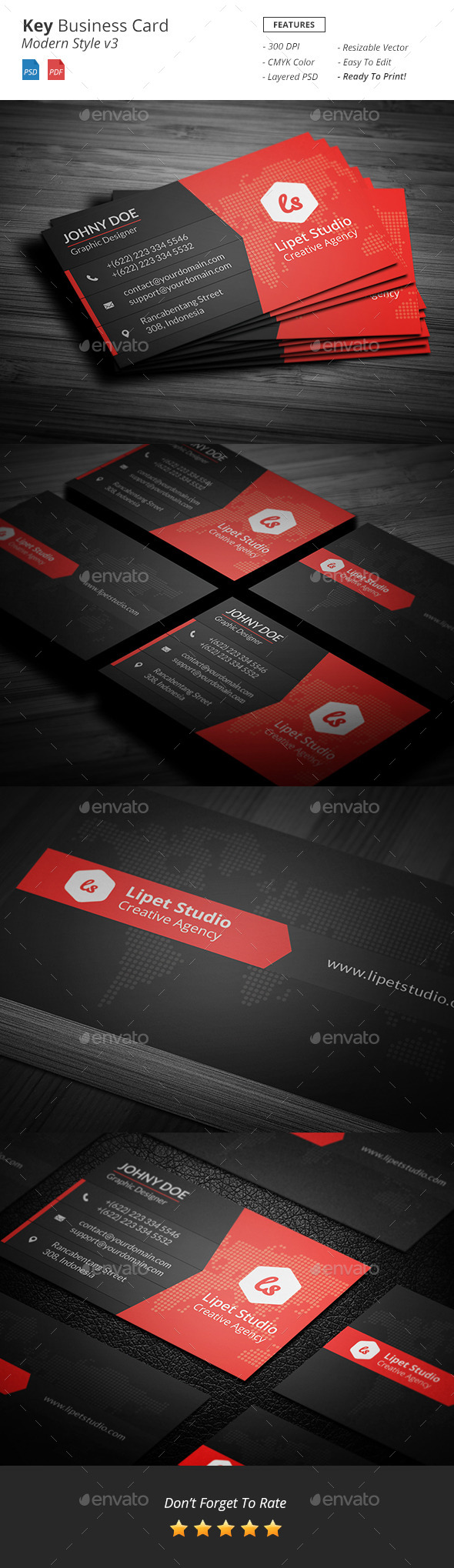 GraphicRiver Key Modern Business Card Template v3 10126344