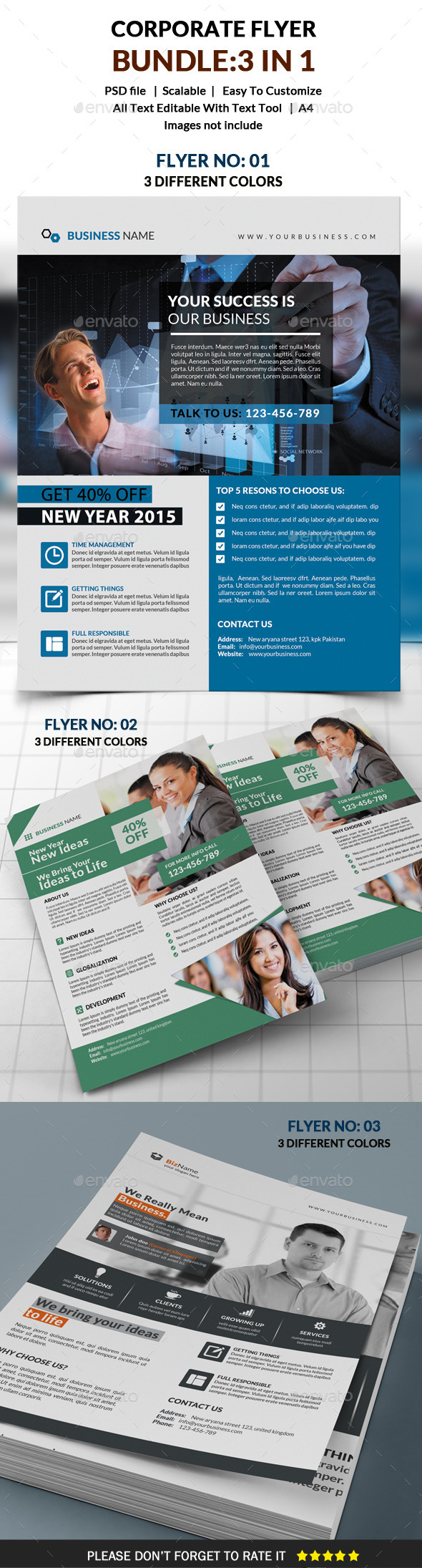GraphicRiver Corporate Flyer Bundle 3 in 1 10126643