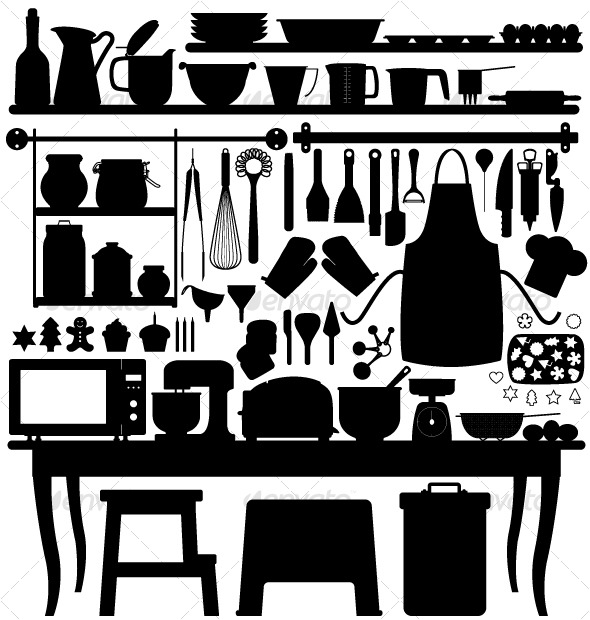 GraphicRiver Baking Pastry Kitchen Tool Silhouette 127992