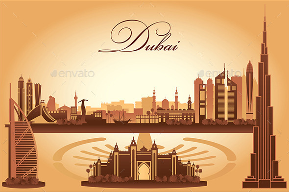 GraphicRiver Dubai City Skyline Silhouette Background 10126879