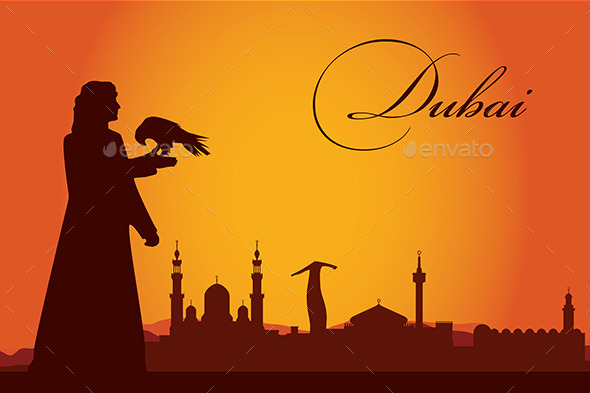 GraphicRiver Dubai City Skyline Silhouette Background 10126971