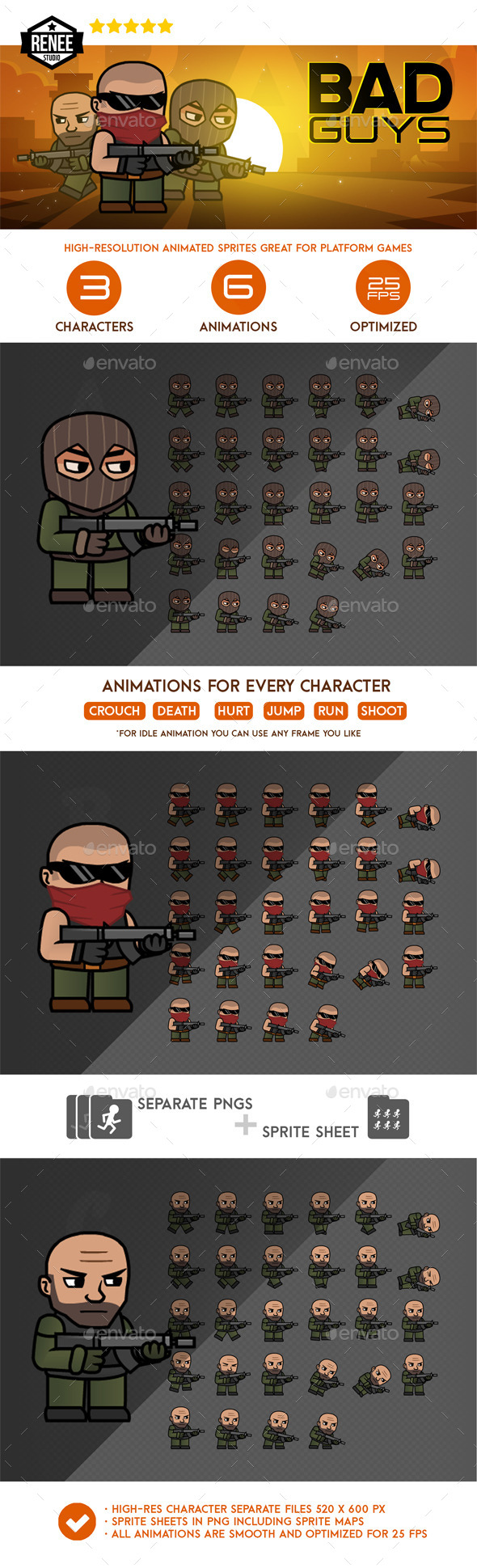 GraphicRiver Bad Guys Animated Spritesheet Pack 10127747