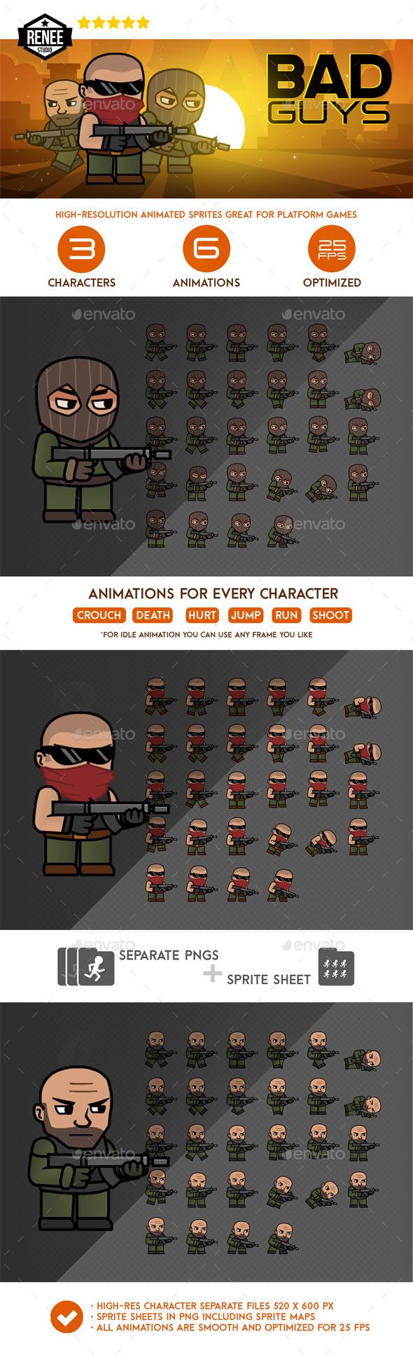GraphicRiver Bad Guys Animated Spritesheet Pack 10127747