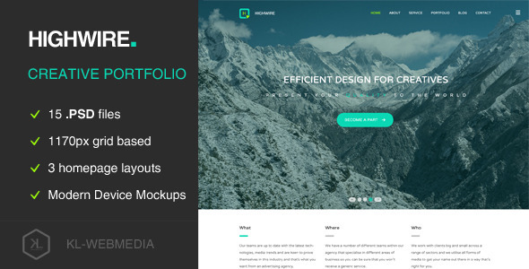 ThemeForest Highwire PSD Template 10127849