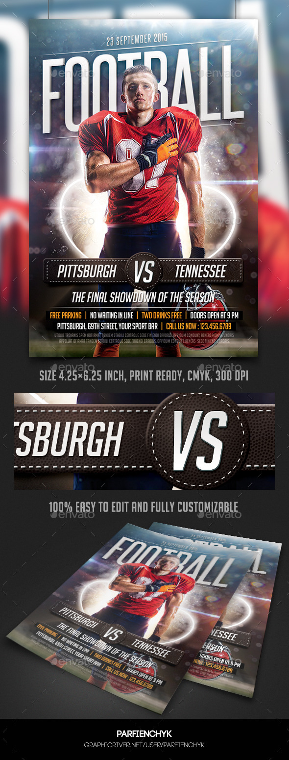 GraphicRiver Football Game Flyer Template 10127878