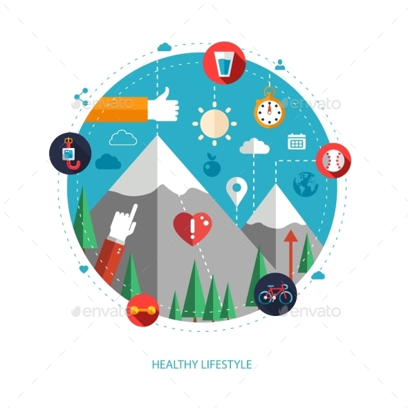 GraphicRiver Set of Sport and Fitness Icons for Health Lifestyle 10128035
