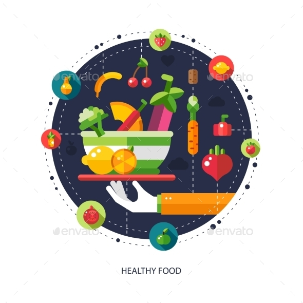 GraphicRiver Illustration of Flat Design Fruits and Vegetables 10128038