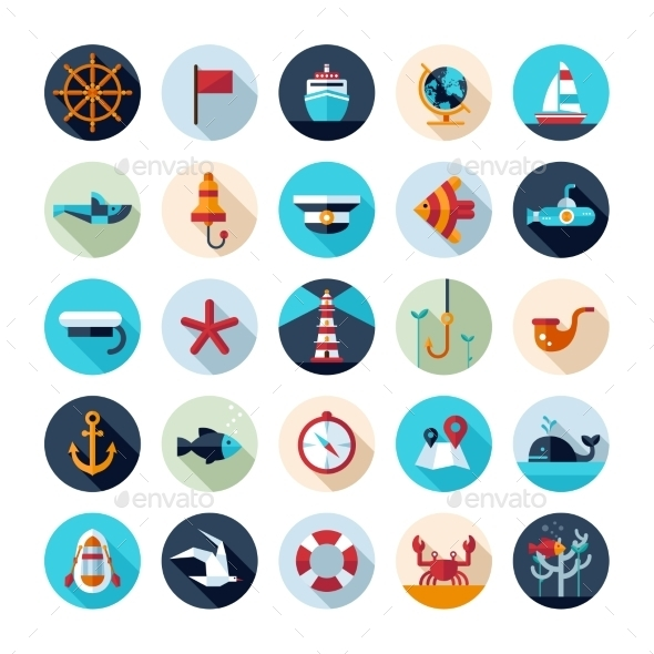 GraphicRiver Set of Vintage Nautical Icons 10128043