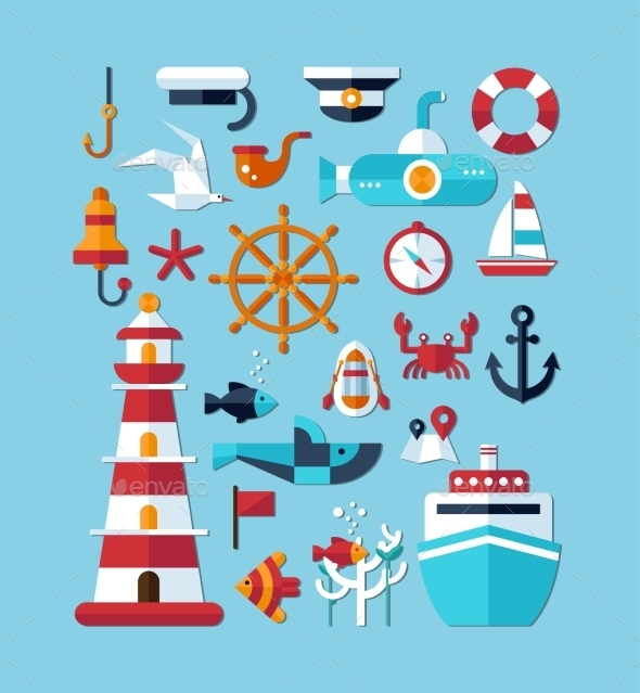 GraphicRiver Nautical Icons 10128046