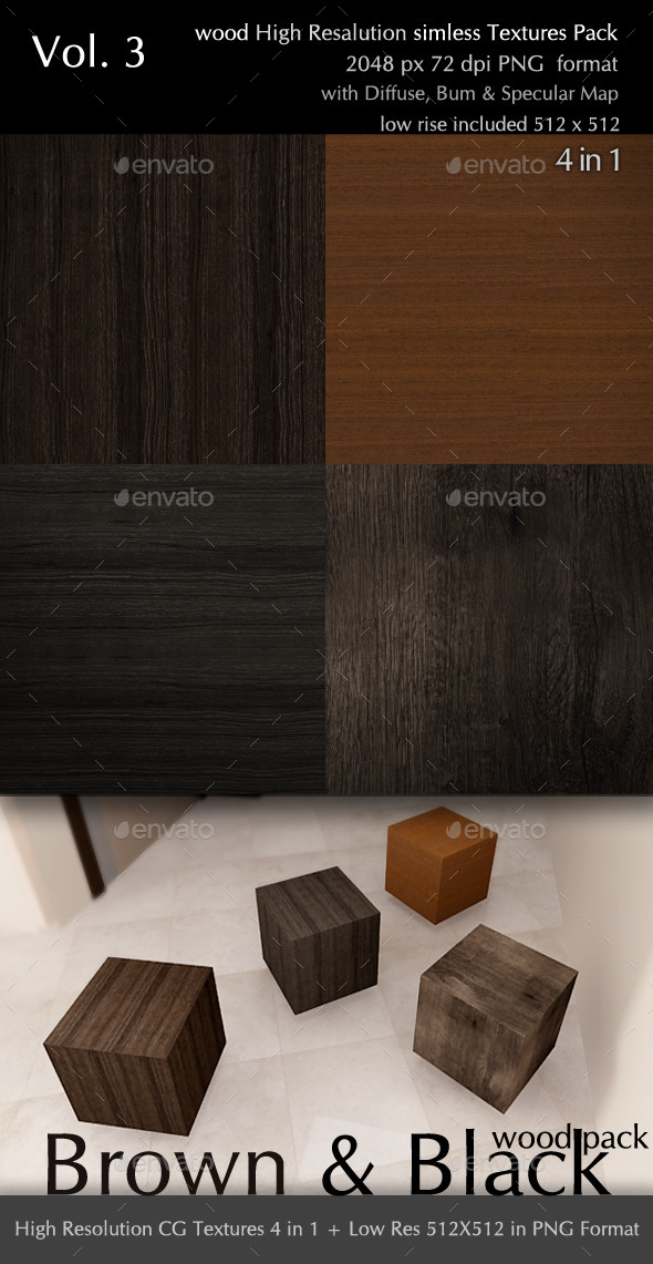 Brown & Black Wood Pack CG Textures 4 in 1 - 3DOcean Item for Sale