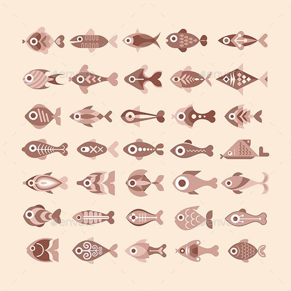 GraphicRiver Fish Icon Set 10130077