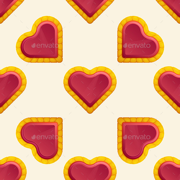 GraphicRiver Golden Heart Pattern 10130078