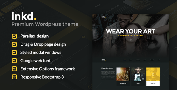 Inkd. Tattoo Studio One Page Wordpress Theme