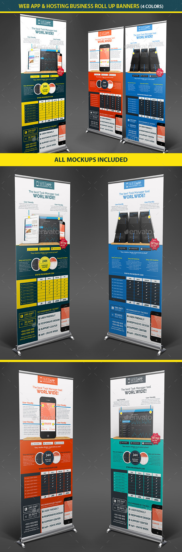 GraphicRiver Web App Tech & Hosting Roll Up Banners 10130131