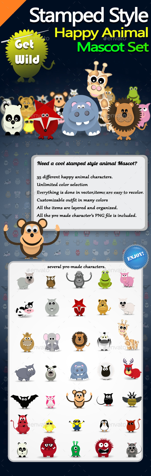 GraphicRiver Stamped Style Happy Animal Mascot Set 10130447