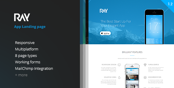 ThemeForest Ray App Responsive WordPress Theme 9740730