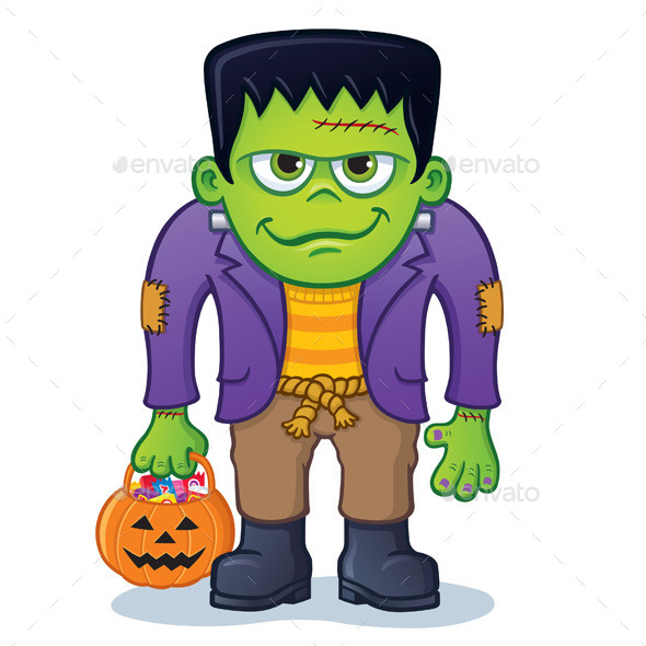GraphicRiver Frankenstein Monster with Pumpkin Pail 10130762