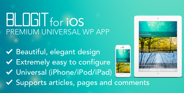 CodeCanyon BlogIt Premium WordPress App for iOS Push iPad 10131009
