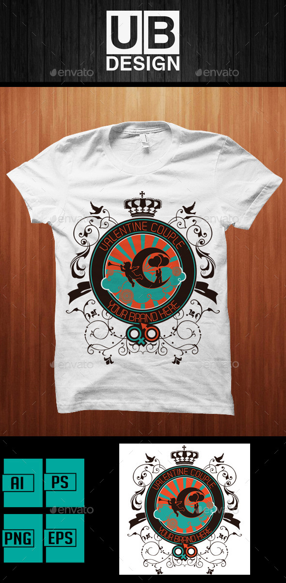GraphicRiver Romantic Valentine T-Shirt Design 10131489