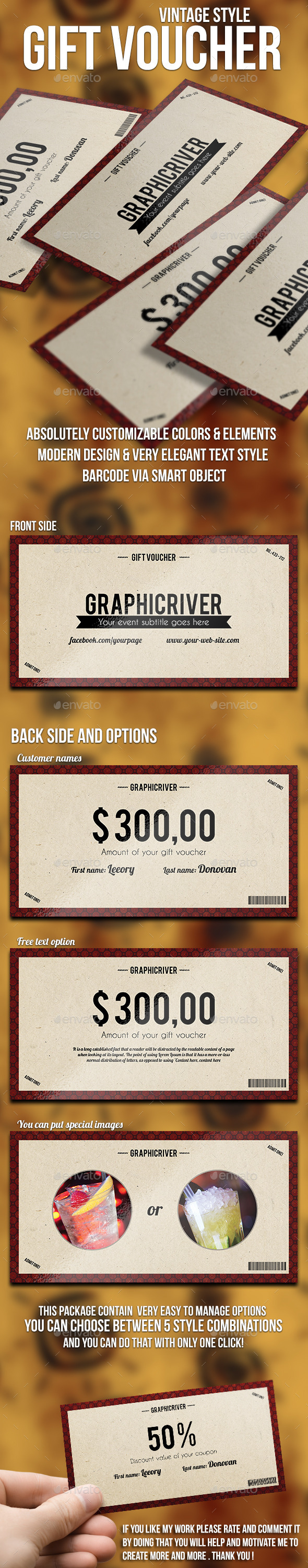 GraphicRiver Vintage Style Gift Voucher 10131490