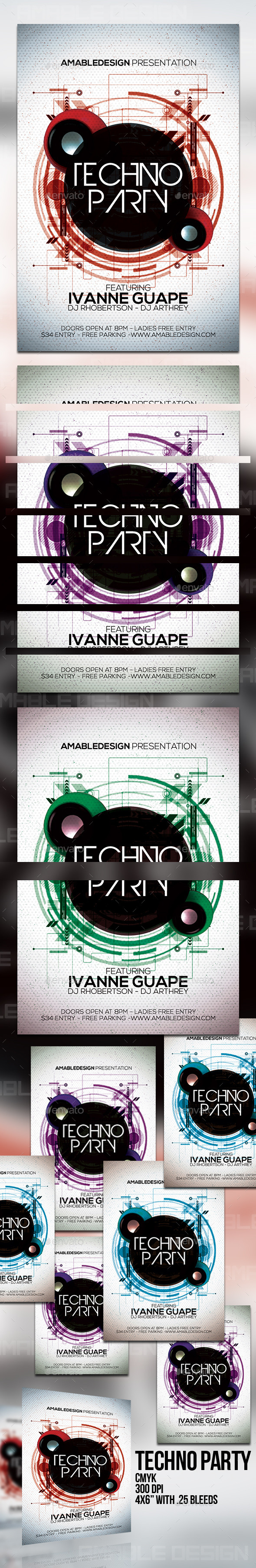 GraphicRiver Techno Party Flyer 10131823