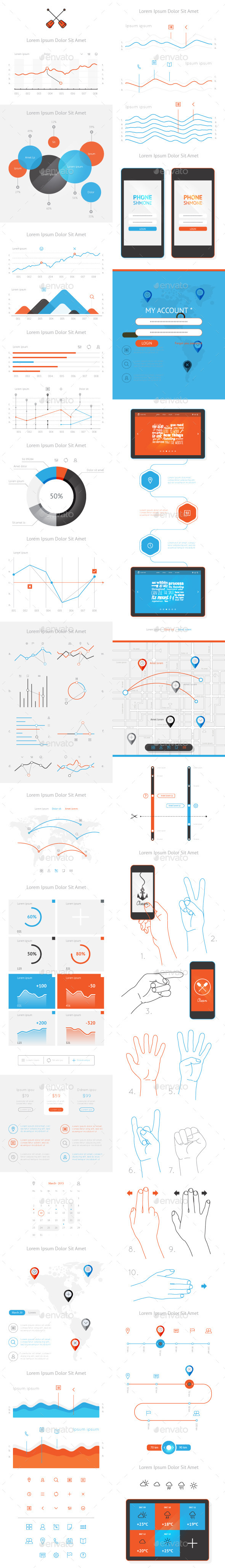 GraphicRiver vector elements of infographics and user interface 10131981