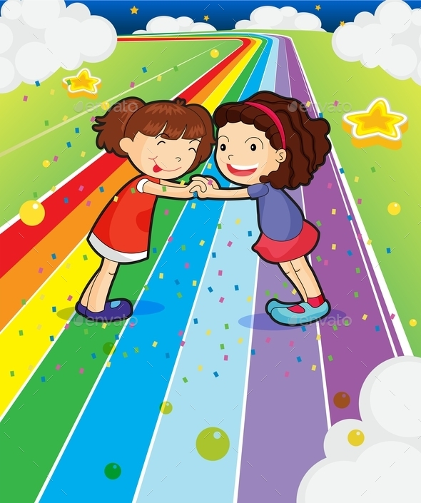 Two Girls Holding Hands at a Colorful Road