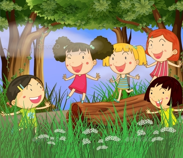 GraphicRiver Children Playing in the Woods 10132086