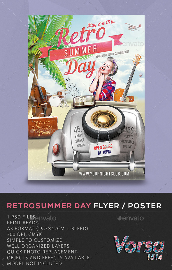 Retro Summer Day Flyer Poster