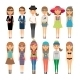 Cartoon Fashion Girls in Colorful Clothes - GraphicRiver Item for Sale