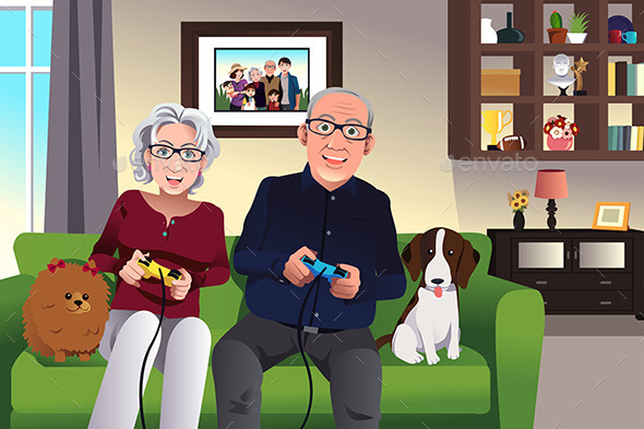 GraphicRiver Elderly Couple Playing Games 10132674