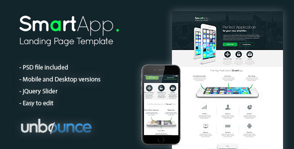 ThemeForest SmartApp Unbounce Landing Page Template 10068780