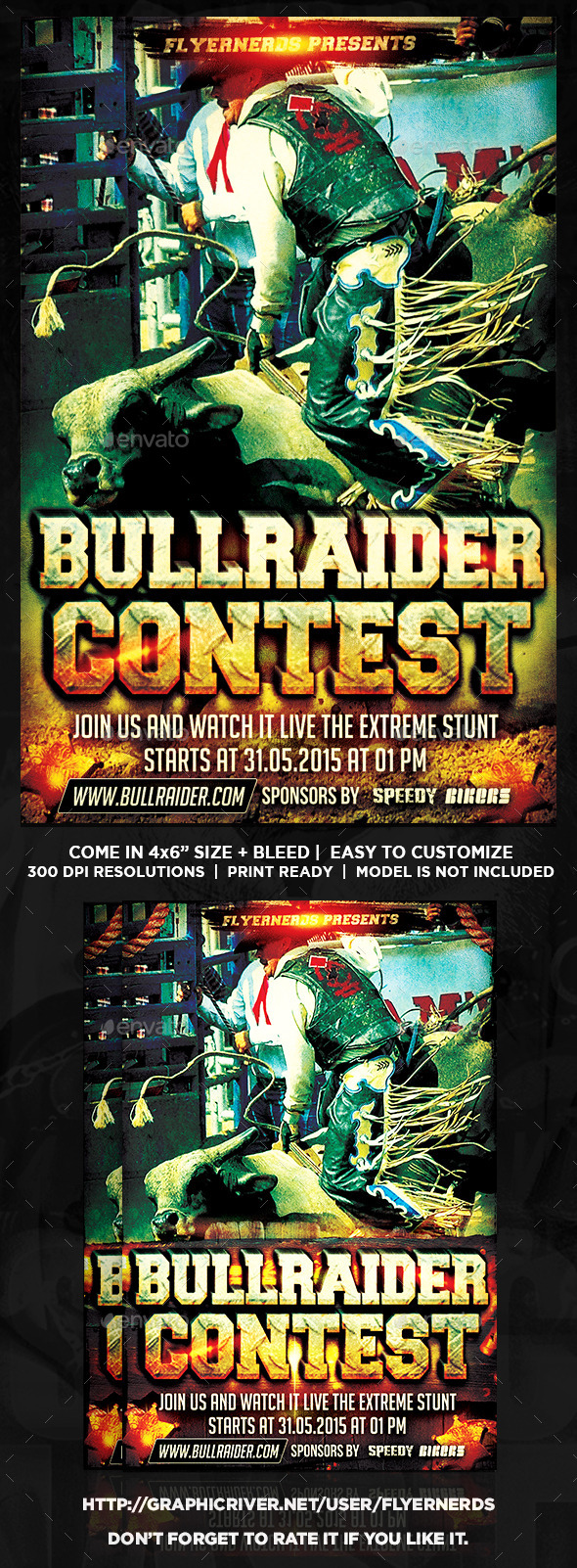GraphicRiver Bull Rider Cowboy Competition Sports Flyer 10132898