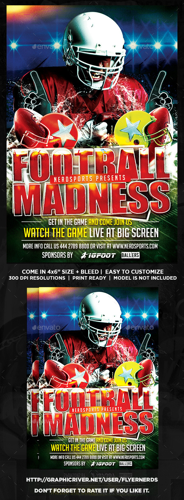 GraphicRiver Football Madness 2K15 Sports Flyer 10133059