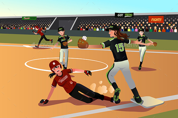 GraphicRiver Women Playing Softball 10133278