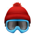 Knitted woolen cap with snow goggles. Winter seasonal sport hat. - PhotoDune Item for Sale