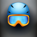 Front view of Classic Ski helmet and snowboard goggles. - PhotoDune Item for Sale