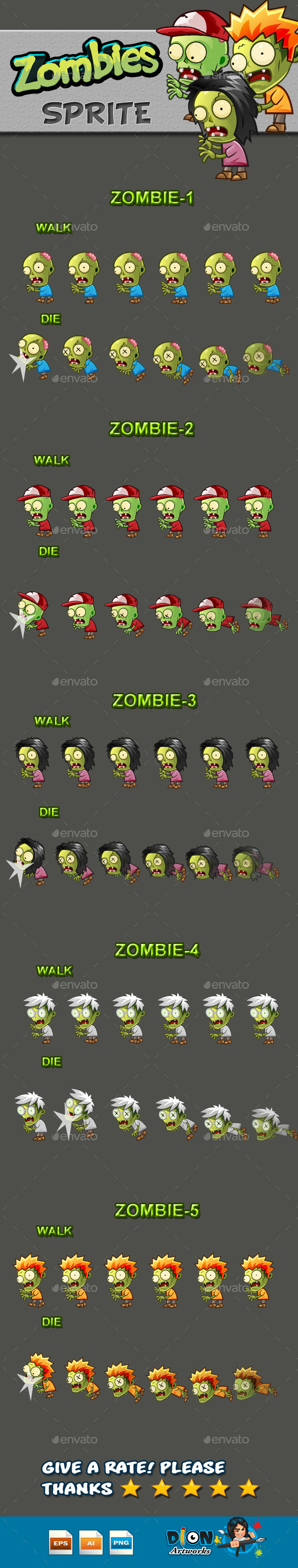 GraphicRiver Zombies Sprite Sheets 10133545