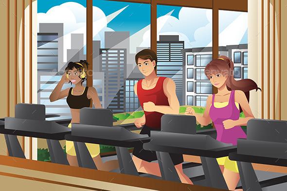 GraphicRiver People Running on Treadmills 10133575
