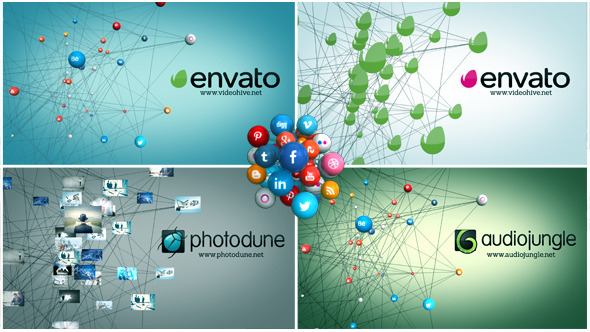 AE模板:互联网社交媒体网络点线链接LOGO图片连线企业合作宣传模版 Social Network免费下载