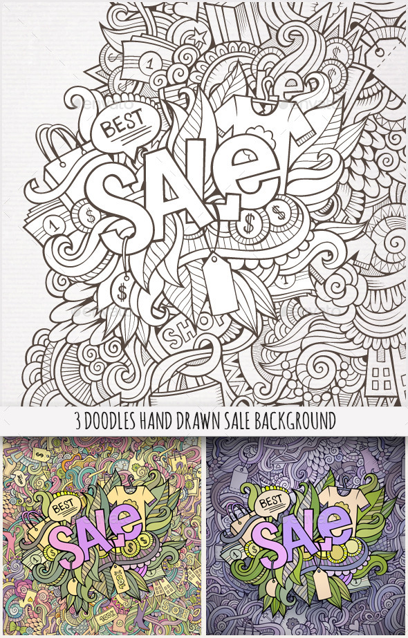GraphicRiver 3 Sale Doodles Background 10133926