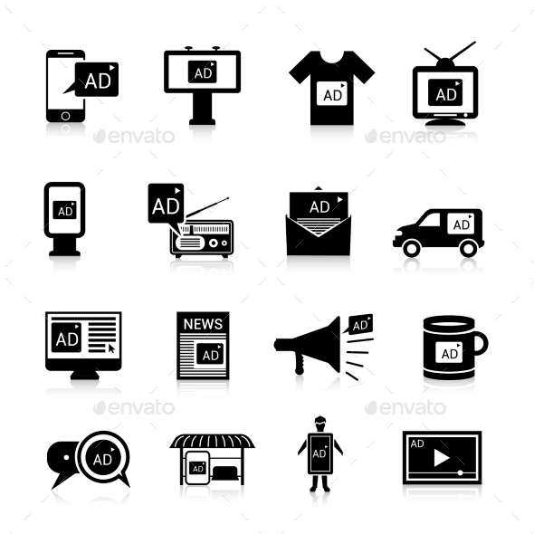 GraphicRiver Advertising Icons Black 10134114