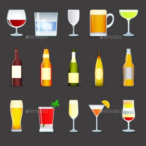 GraphicRiver Alcohol Drinks Icons Set 10134118