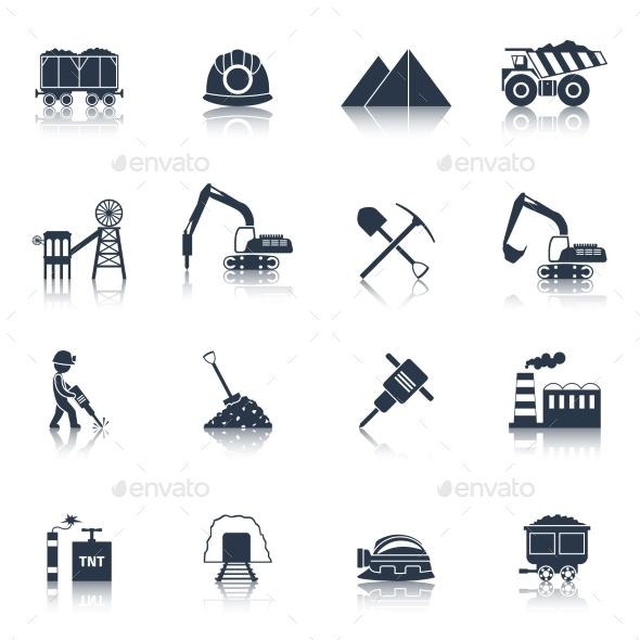 GraphicRiver Coal Industry Icons Black 10134119