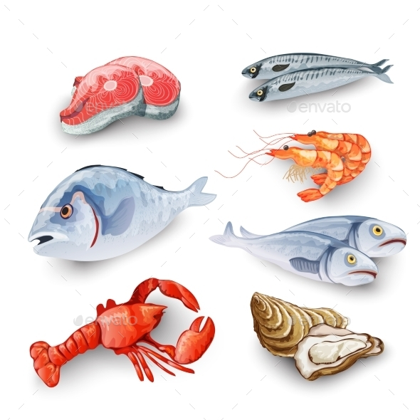 GraphicRiver Seafood Products Set 10134155