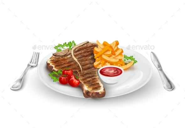 Grilled Steak on Plate