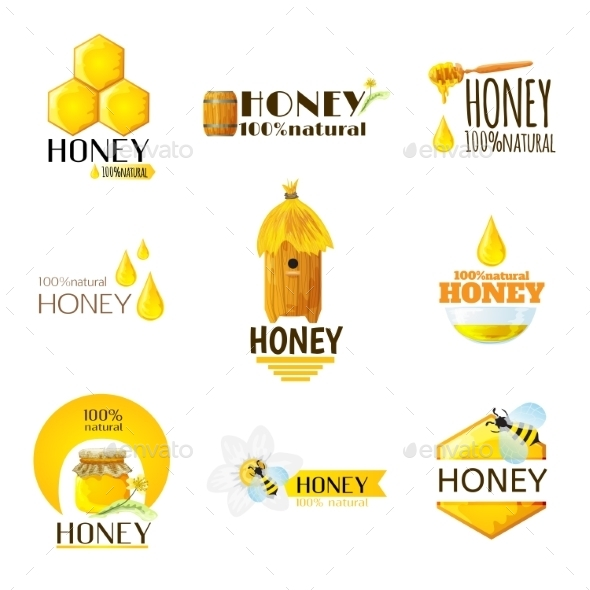 GraphicRiver Honey Labels Set 10134179
