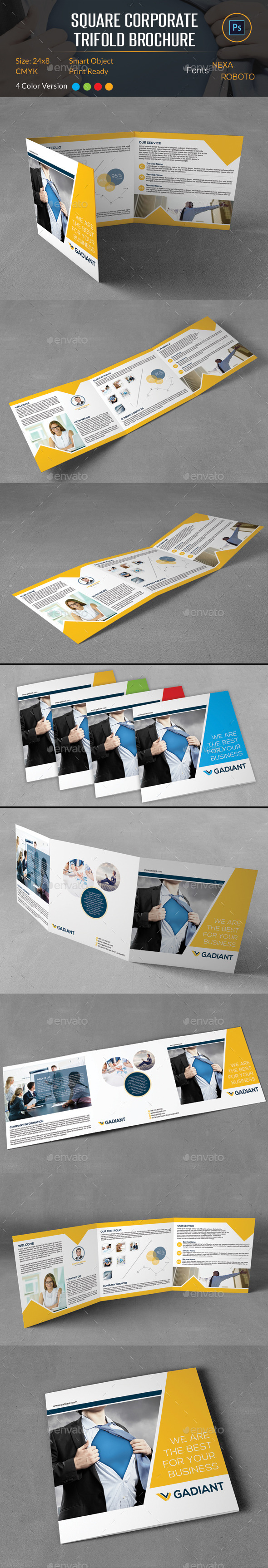 GraphicRiver Square Corporate Trifold Brochure 10134180
