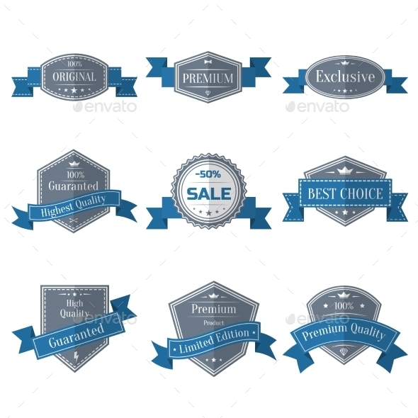 GraphicRiver Vintage Set of Labels with Ribbons 10135149